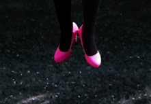 her bright pink shoes